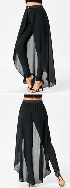 calça-saia ---- pants outfit for women:High Waist Slimming Pants with Skirt Mode Outfits, Fashion Outfits, Womens Fashion, Trendy Fashion, Fashion Kids, Fashion Pants, Dress Fashion, Dope Fashion, Cheap Fashion
