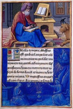 Luke's Lesson: Luke Writing Border: Annunciation - illumination by Jean Poyer in the Hours of Henry VIII, c. 1500 (Tours, France). MS H.8, Fol. 9 The Morgan Library, New York. {Links to a page that will zoom]
