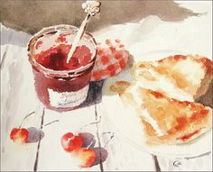 Cherry Turnovers Watercolor - Original Painting 8x10 inches Sweet Dessert Pastries Preserves