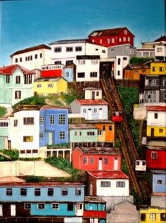 Asensor - Valparaiso, Chile. Spent a New Years Eve in this amazing city stacked on a steep hillside. Sea, town, hills.