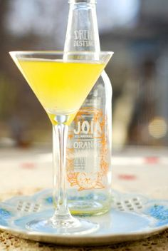 juicy fruit martini | In a martini shaker  add:    a handful of ice and a shot of vodka    shake for 15 seconds and using a strainer  pour into a martini glass    top off with some Joia Orange-Jasmine-Nutmeg soda.