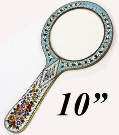 "Antique 10"" Tall Edwardian Grand Tour Micro Mosaic Mirror Frame, Micromosaic"
