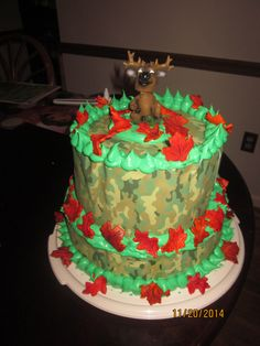 Camo cake for my brother with fondant oak and maple leaves