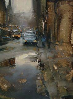 Down the Street. Tibor Nagy. Oil on linen. 16 x 12