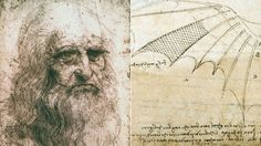 "On left,""Self-portrait"" of Leonardo da Vinci.Right, drawing of bird's wing,extract of Codex Turin of great Florentine master.The fragile but controversial Self Portrait of Leonardo da Vinci will be visible again.After its restoration in 2012,some art experts believed that would never be made public.Royal Library of Turin will exhibit it from October 30 to January 15, 2015."
