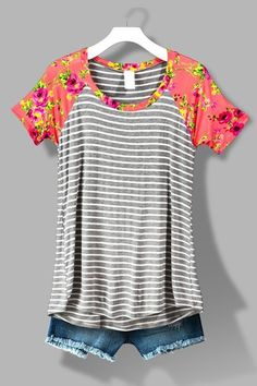 Gray with Coral Floral Raglan Sleeve Striped Shirt