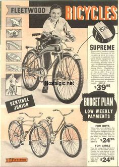 1937 Spring and Summer catalog from Firestone Velo Beach Cruiser, Cruiser Bikes, Bicycle News, Bicycle Race, Old Advertisements, Retro Advertising, Vintage Classics, Vintage Ads, Bike Poster