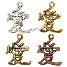 Zinc Alloy Alphabet Charms,Chinese Love,Plated,Cadmium And Lead Free,Various Color For Choice,Approx 24*18*2mm,Hole:Approx 2mm,Sold By Bags,No 001929A