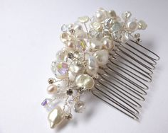 Bridal hair comb  freshwater pearls swarovski and by DaintyDropsUK