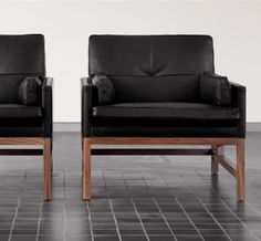 BassamFellows CB-50 Low Back Lounge Chairs with exposed solid Santos Rosewood frame.