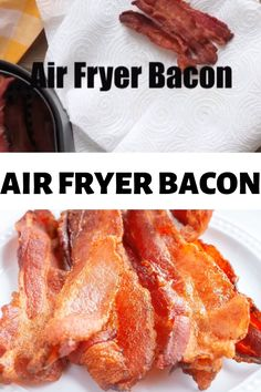 Air Fryer Bacon- Can you cook bacon in an air fryer? Yes, you can make bacon in the air fryer and it's so easy! Steps on how to make bacon in air fryer. Air Fryer Recipes Videos, Air Fryer Recipes Low Carb, Air Fryer Dinner Recipes, Air Fryer Recipes Chips, Air Fryer Recipes Appetizers, Cooking Bacon, Cooking Recipes, Cooking Food, Food Food