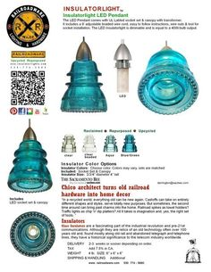 Gorgeous glass insulators reused as pendant lights... One day I will have this done for a house of my own.