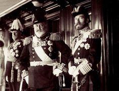 "Tsar Nicholas II of Russia and King Edward VII of the United Kingdom on board the Standart in 1909.  ""AL"""