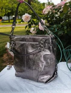 096ac5b393a19 NWT Coach Metallic Crinkled Leather Brooke Hobo Handbag 17165 Pewter Silver