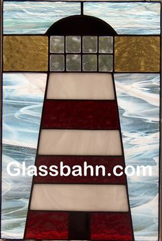 Big Beacon Lighthouse Stained Glass Panel