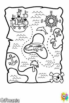 Illustration of sailing - 97595577 malvorlagen krokodil Treasure Maps For Kids, Pirate Treasure Maps, Pirate Maps, Pirate Party Games, Pirate Activities, Preschool Pirate Theme, Decoration Pirate, Pirate Crafts, Pirate Birthday