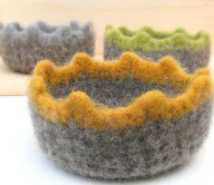 Grey yellow Felted bowl  Organic ecofriendly    by theYarnKitchen
