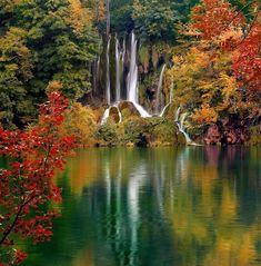 Plitvice Lakes in full foliage, Croatia