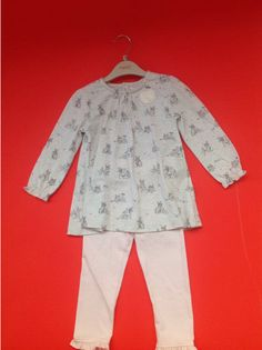 Next Girls Pink  Bunny Scene Tunic And Pink Leggins Two  Piece age 12/18 months