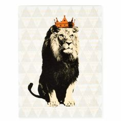 Party Animals Canvas Wall Art (Lion)  | The Land of Nod