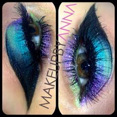 Fun/Funky look using @sugarpillmakeup loose shadows in Hysteric (purple) Absinthe (green) Starling (blue) Stella (black) and INGLOT gel liner with #217 lashes from Nigel's Beauty Center