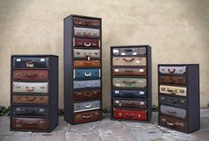 English designer James Plumb created these suitcase drawers, they are assemblages of unique pieces. Old suitcases are housed in antique steel and tailor-made wood chests, to form a series of unique chests of drawers. Every suitcase is refurbished ins Vintage Suitcases, Vintage Luggage, Vintage Travel, Recycled Furniture, Diy Furniture, Furniture Vintage, Furniture Design, Refurbished Furniture, Leather Furniture
