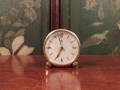 UTi Swiza Art Deco alarm clock in brass, vintage Swiss timepiece