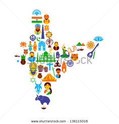 easy to edit vector illustration of Indian map formed by different cultural symbol - stock vector