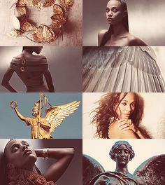 Greek Mythology Dreamcast - Zoe Saldana as Nike Victory…in gold-rich Olympos you stand beside Zeus and judge the outcome of prowess for immortals and mortals. (x)