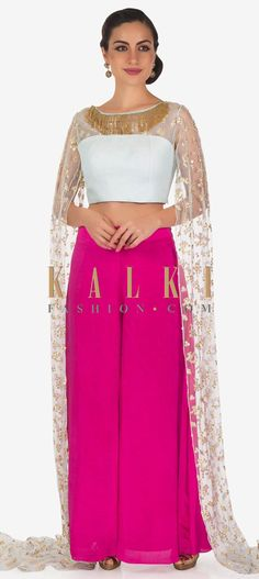 Rani pink palazzo pant featuring in crepe. Matched with crop top blouse in mint blue with quilting. It comes with long fancy sleeve embellished. Punjabi Wedding Suit, Wedding Suits, Wedding Dance Songs, Wedding To Do List, Blue Crop Tops, Mint Blue, Palazzo Pants, Minimal Fashion, Sequin Embroidery