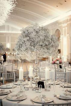ideas for wedding winter silver centerpieces Mod Wedding, Wedding Table, Floral Wedding, Wedding Flowers, Trendy Wedding, Wedding Reception, 2017 Wedding, Gypsophila Wedding, Gatsby Wedding