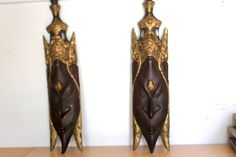 MCM Large Pair Asian Carved Wood Wall Plaques - 20 Inches - Mid Century Modern Gold Gilt Tiki Hollywood Regency - Thailand Temple Faces by SubtleFunk on Etsy