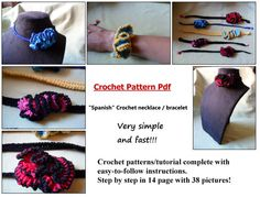 Crochet pattern complete for Spanish Necklace/bracelet by Cosmosicula on Etsy, $5.00. Disponibile anche in italiano!