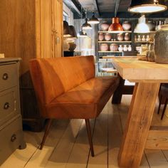 Eetkamerbank Dolly in leder - Oldwood - De Woonwinkel