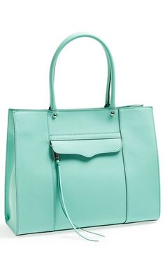 Rebecca Minkoff 'M.A.B. - Medium' Tote in lustrous crosshatched leather in minty | Nordstrom