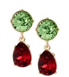NEW! Green & Red  Double -Drop CLIP Earrings  W Pouch! / Kenneth Jay Lane #KennethJaylane #DropDangle