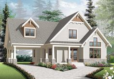 Discover the plan - Celeste 2 from the Drummond House Plans house collection. 2 to 4 bedroom country cottage house plan, carport, 2 living rooms, mezzanine, unfinished bonus room. Bungalow House Plans, Craftsman Style House Plans, Cottage House Plans, Cottage Homes, Modern Bungalow, Cottage Style, Small Bungalow, Zen House, Craftsman Cottage