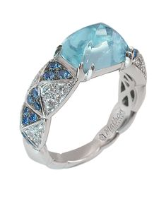 Mathon Paris Harlequin ring in White gold with Diamonds, Sapphires and Aquamarine