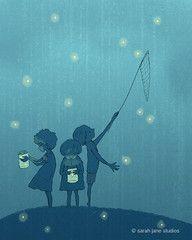 child chasing fireflies - Google Search
