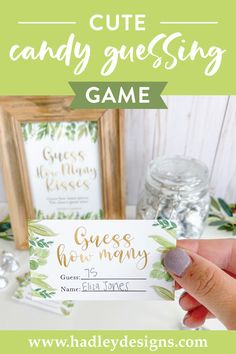 If you want a memorable party game, boho greenery baby shower guessing game jar cards are for you; leaf guess how many candy in the jar cards are girl baby shower decorations for girl, baby gender reveal party supplies kit; botanical garden watercolor guess how many bridal shower games for guests, eucalyptus baby shower games to play, gold and green man guess how many kisses game, woman gender reveal games for party, boy baby shower ideas, gender neutral leaves kids birthday party games for kids Gender Reveal Games, Gender Reveal Party Supplies, Baby Gender Reveal Party, Baby Sprinkle Games, Baby Shower Guessing Game, Baby Shower Decorations Neutral, Birthday Party Games For Kids, Candy Games, Cute Candy