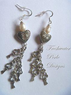 Key To The Heart Earrings by freshwaterperle on Etsy