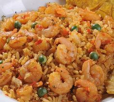 Rice with Shrimp Recipe - Recetas Shrimp And Rice Recipes, Seafood Recipes, Mexican Food Recipes, Kitchen Recipes, Cooking Recipes, Easy Dinner Recipes, Easy Meals, Colombian Food, Snacks