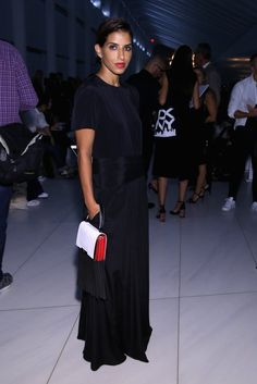 Princess Deena of Saudi Arabia  Stand Out in All Black &  Accessorizing Only With a Red Lip and Clutch