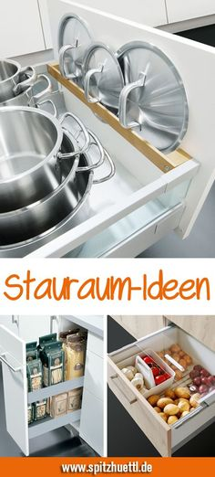 In der Küche kann man nie genug Stauraum haben. Wir zeigen dir clevere Ideen, m… In the kitchen you can never have enough storage space. We show you clever ideas with which you can easily keep order and gain space. Kitchen Storage Solutions, Diy Kitchen Storage, Kitchen Decor, Kitchen Rack, Kitchen Ideas, Dish Drawers, Trofast Ikea, Glossy Kitchen, Cuisines Diy