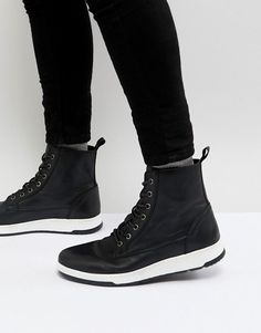 b7ecf2344c8eb3 ASOS Lace Up Boots In Black Leather With Contrast Sole Asos Men