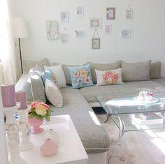 Çiçekli, Duvar dekorasyon, Gri, Köşe koltuk, Mavi, Pembe, Salon