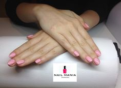 Perfect pastel pink nails - Semilac pink peach milk colour by Salon Nail Mania Warszawa ul. Sienna 72A lok.09 tel. 603-819-755