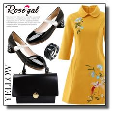 """""""In La La Land: Yellow Dresses-ROSEGAL"""" by jelena-880 ❤ liked on Polyvore featuring vintage, dress, yellowdress and rosegal"""
