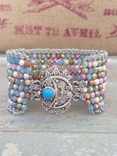 Turquoise Peyote Czech Cuff  Colorful Pastel by CountryChicCharms