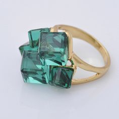 LIESEL G039: 10K Yellow Gold Filled Crystal Ring, size 7.5